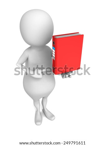 white 3d man with red office ring binder. 3d render illustration - stock photo