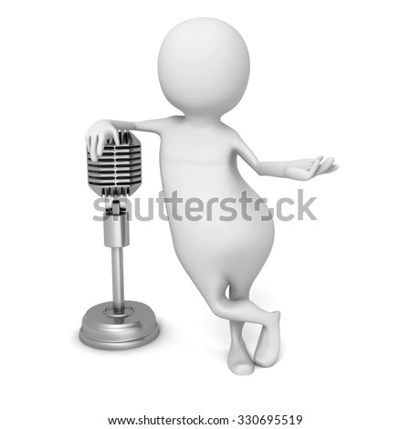 White 3d Man With Retro Vintage Microphone. 3d Render Illustration