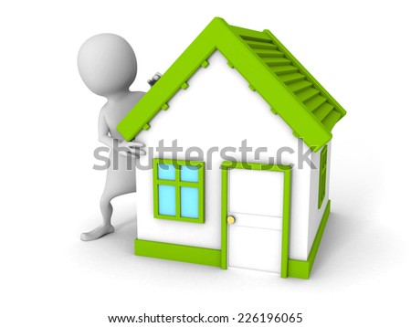 white 3d man with small green roof house. real estate concept 3d render illustration - stock photo