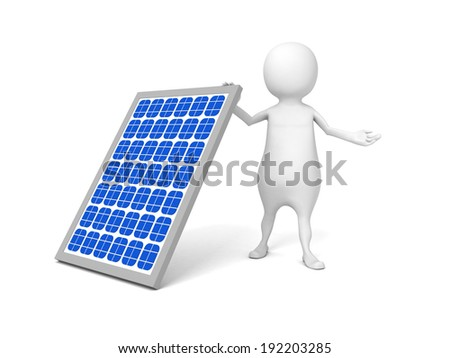 white 3d man with solar battery. Solar energy concept 3d render illustration - stock photo