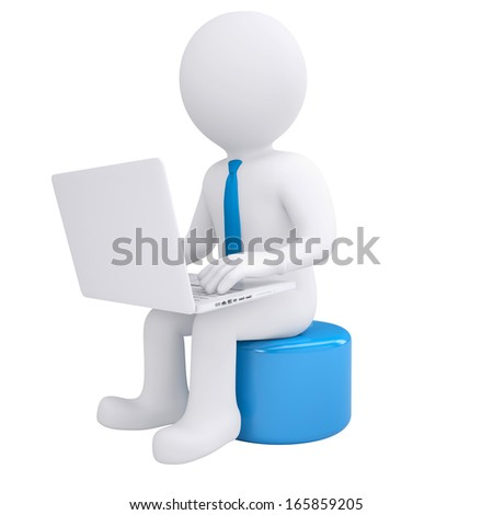 White 3d man working at his laptop. Render on white background