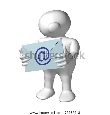 White 3D men with blue letter with an email symbol