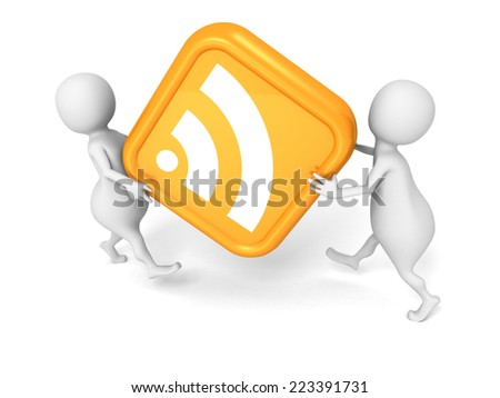 white 3d people carry big RSS symbol. 3d render illustration - stock photo