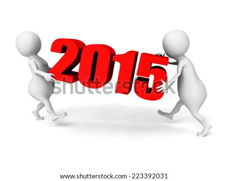 white 3d people carry 2015 new year numbers. 3d render illustration - stock photo