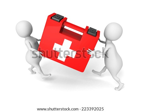 white 3d people carry red medical first aid kit. 3d render illustration - stock photo