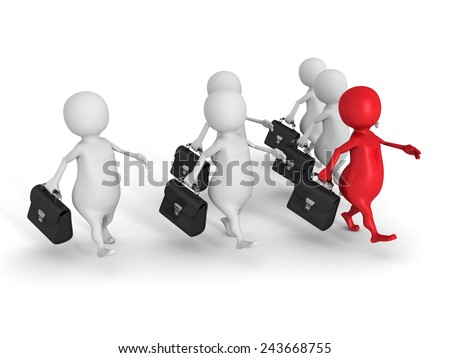 white 3d people team group with red forward leader. business success concept 3d render illustration - stock photo