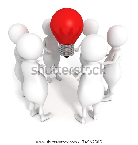 white 3d people team group with red idea concept light bulb - stock photo