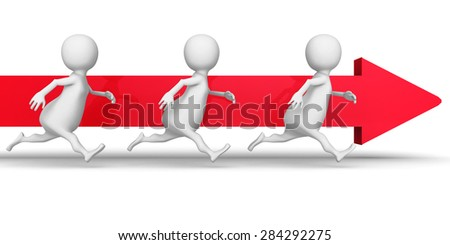 White 3d People Team Running Forward Arrow. Success Business Concept 3d Render Illustration - stock photo