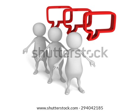 White 3d People With Red Speech Bubbles. 3d Render Illustration - stock photo