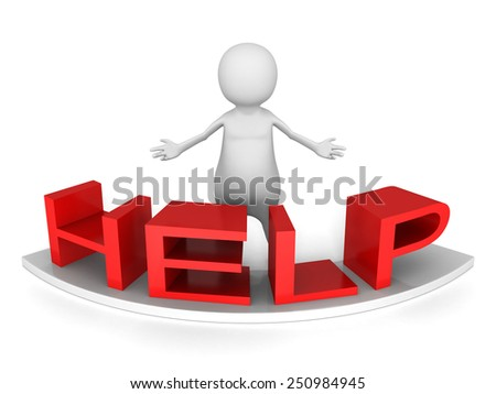 white 3d person behind red HELP word. 3d render illustration - stock photo