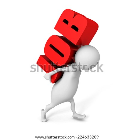 white 3d person carry red JOB word letters. 3d render illustration - stock photo