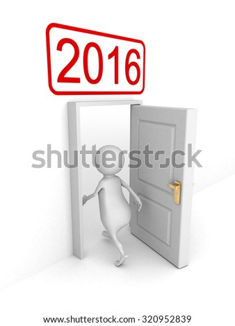 White 3d Person Enterring In 2016 New Year Door. 3d Render Illustration - stock photo