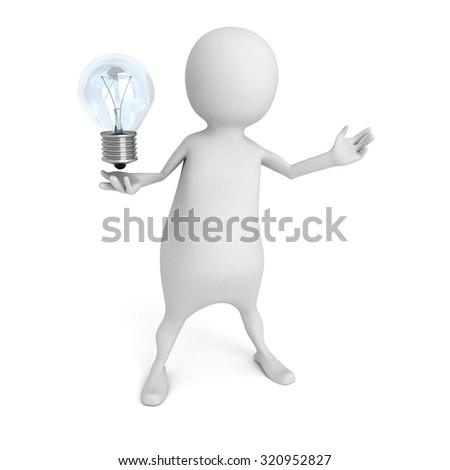 White 3d Person Holding Light Bulb Idea Concept Render Illustration