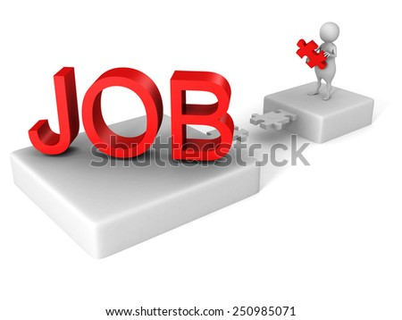 white 3d person jigsaw puzzle bridge to red JOB word. job search concept - stock photo