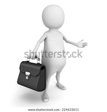 white 3d person with black leather briefcase. 3d render illustration - stock photo