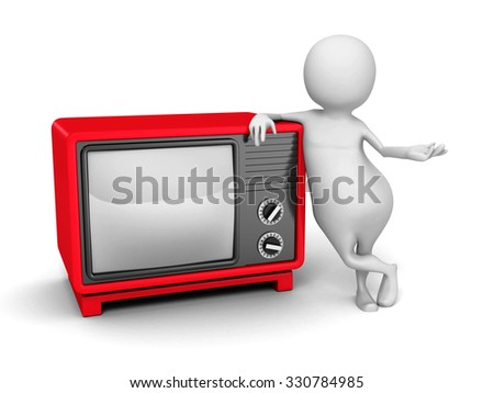 White 3d Person With Red Retro TV. 3d Render Illustration - stock photo