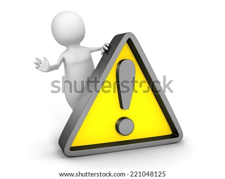 white 3d  person with yellow warning sign. 3d render illustration - stock photo