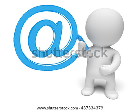 white 3d person writing a big red at-sign (3D illustration isolated on a white background) - stock photo