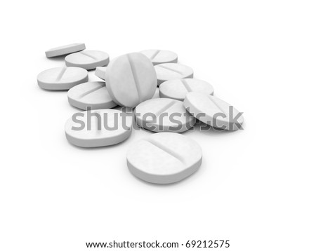 White 3D Pills on a white Background