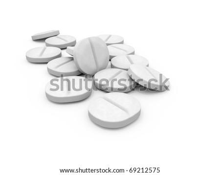 White 3D Pills on a white Background - stock photo