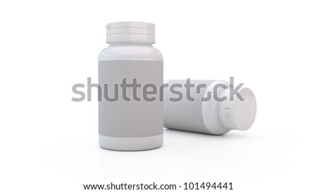 white 3d plastic bottle - stock photo