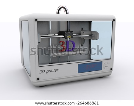 white 3d printer - stock photo