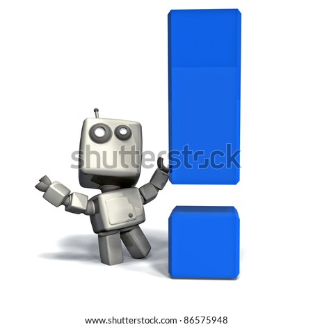 White 3D Robot with Blue Exclamation Point isolated on white background - stock photo