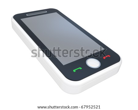 white 3D smart phone on a white background - stock photo