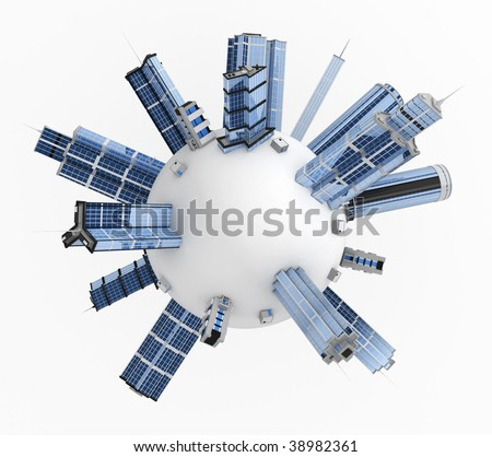 White 3d sphere covered in modern buildings - stock photo