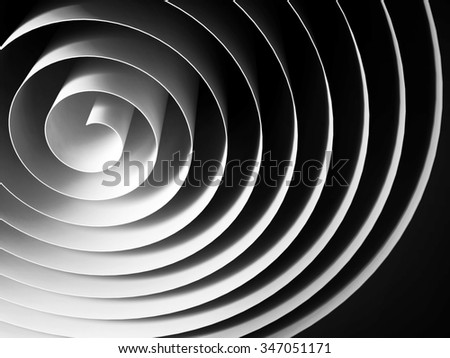 White 3d spiral made of paper tape with dark shadows over black background, abstract digital illustration - stock photo
