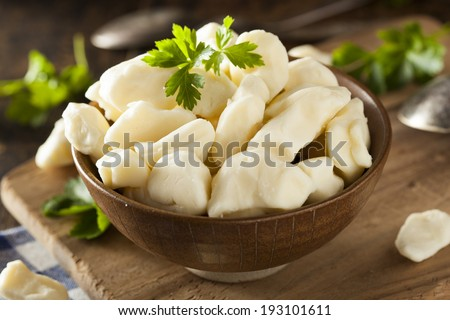White Dairy Cheese Curds in a Bowl - stock photo