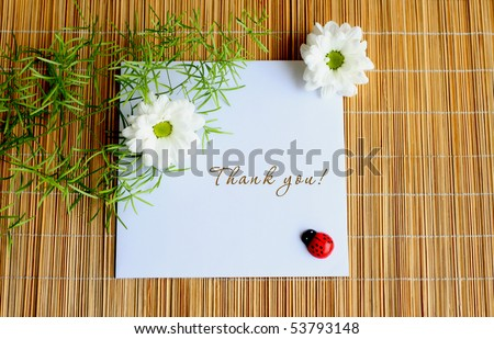White daises with lady bug thank you note.