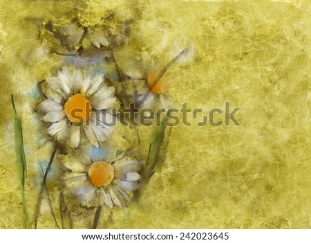 White daisies on grunge paper background  - stock photo