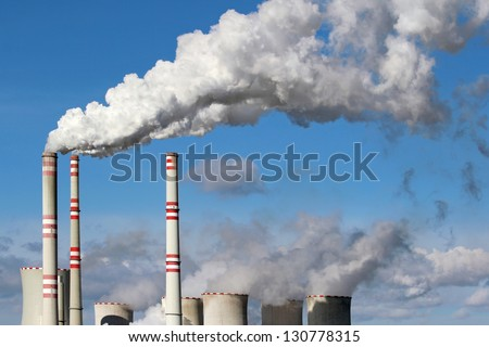 white danger smoke from coal power plant chimney - stock photo