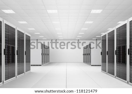 White Data centre with two rows of racks - stock photo