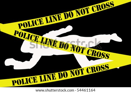 """White dead body silhouette on black background with """"Police line do not cross"""" banner - stock photo"""