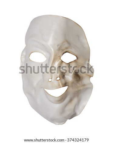 White deformed mask isolated on white with clipping path - stock photo
