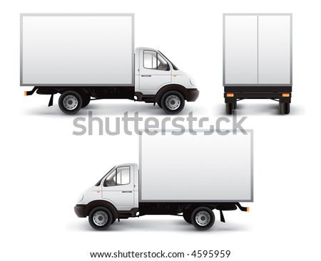 White delivery car isolated with vector clipping path included - stock photo