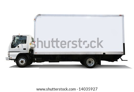 White delivery truck isolated on white background - stock photo