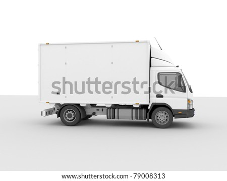White delivery truck on a light background with shadow - stock photo