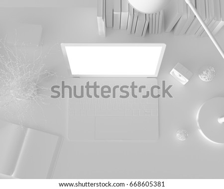 White desk and laptop mockup