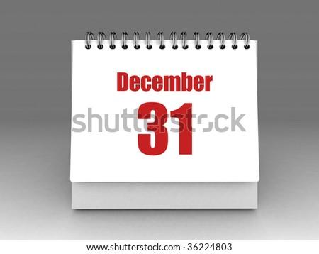 white desktop calendar with 31 december text - stock photo