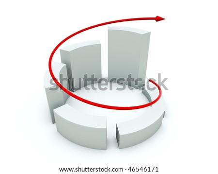White diagramm with red arrow - stock photo