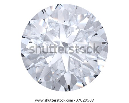 White diamond top view on white background
