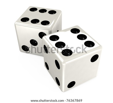 white dice - stock photo