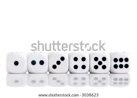 1 6 dice clipart in a row