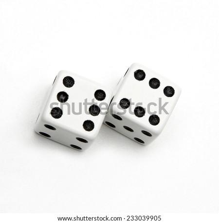 white dice isolated - stock photo
