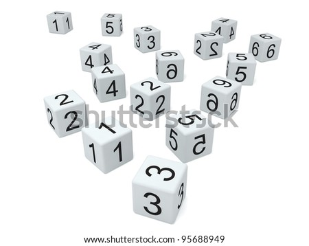 White dice on white background