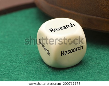 White dice - Research - stock photo
