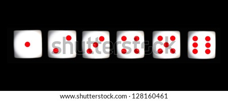 white dice with red dots on black background - stock photo